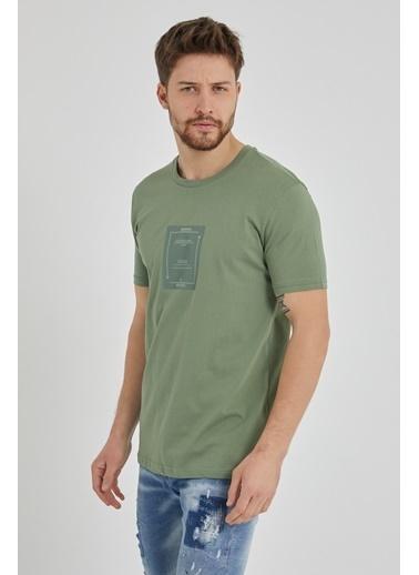 XHAN Yeşil Baskılı T-Shirt 1Kxe1-44648-08 Yeşil